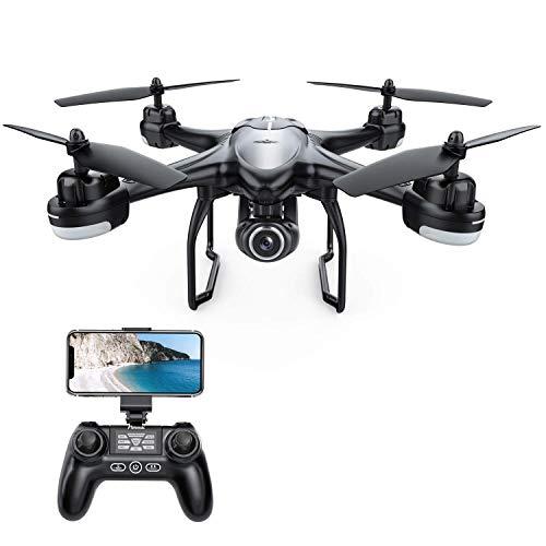 Potensic Drone GPS Professionale T18 FPV con Telecamera 120 ° Grandangolo Regolabile HD 1080P Dual GPS Fotocamera Seguimi RTH con Telecomando, Nero