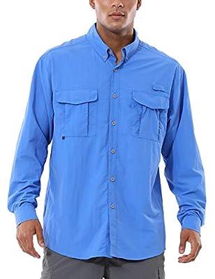 BALEAF Men's UPF 50+ Hiking Shirt Long Sleeve Shirt Outdoor Lightweight Quick Dry Fishing Shirts Bluebell XL