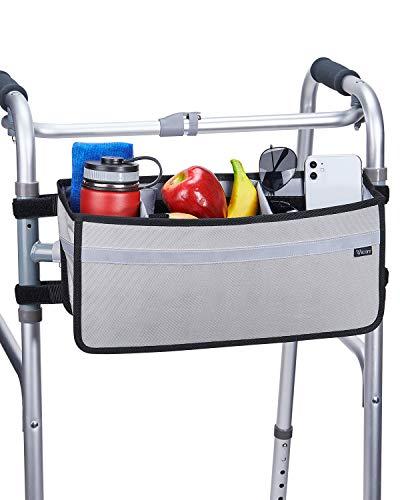 ISSYAUTO Walker Basket, Strap Mount Walker Cup Drink Holder with Two Split Board, Foldable Walker Storage Bag, Best Gift for Family and Friends