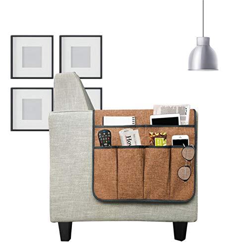 bozitian Organizador de reposabrazos para sofá, de lino grueso, antideslizante, con 6 bolsillos, soporte para teléfono con control remoto, soporte para revistas, para sofá reclinable y reposabrazos