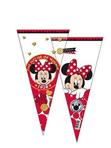 68318, pakket van 6 Disney Minnie Mouse-kegels, kegelvormige tassen voor feesten en verjaardagen.