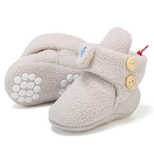Newborn Baby Soft Fleece Booties Infant Boy Girl Cozy Socks with Non Skid Gripper Stay On Slippers Toddler First Walkers Winter Ankle Crib Shoes First Birthday Shower Gift U619WXBX,Khaki,11