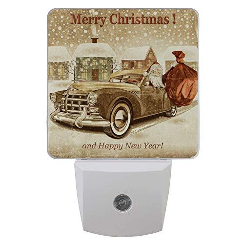 Luz LED para la noche con sensor automático del atardecer al amanecer (1 paquete), Papá Noel vintage en coche