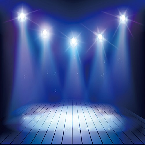 Baocicco Empty Stage Shiny Spotlights Backdrop 6x6ft Photography Background Lamp Sparking Wooden Texture Floor Dreamy Fashion Show Performance Circus Play Variety Entertainment Show