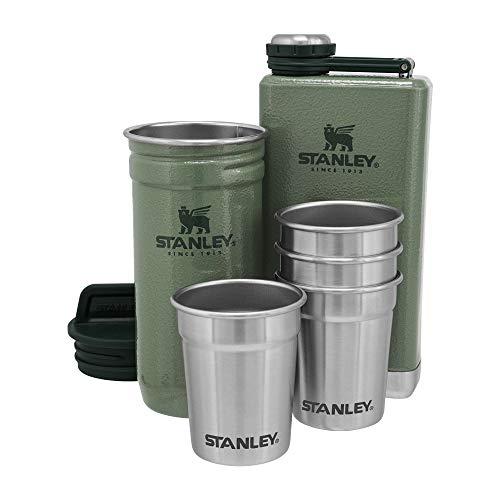 Stanley Stainless Steel Shot Glass and Flask Gift Set, Outdoor Adventure Pack with 4 Metal Shot Glasses, 8oz Whisky Flask, and Travel Carry Case, Best Outdoorsmen and Camping Gift for Men