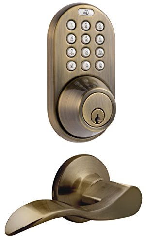 MiLocks DFL-02AQ Electronic Touchpad Entry Keyless Deadbolt and Passage Lever Combo, Antique Brass