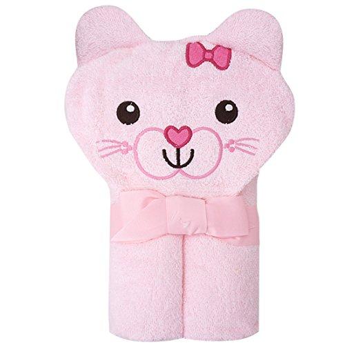 CuteOn Bebé 100% Algodón Toalla de baño Suave Encapuchado Toalla para Recién nacido Niñito y Niños - Rosado Gato 28.74' x 35.43'