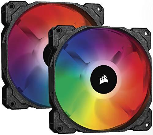 Corsair iCUE SP140 RGB PRO, 140mm RGB LED (Geräuscharm, hoher Luftdurchsatz, Gehäuse-Kühlung-Lüfter, Doppelpack mit Lighting Controller) Schwarz