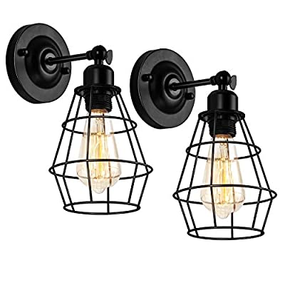 Wire Cage Wall Sconces Industrial Plug in Wall Lamp Vintage Style Wall Light Fixture with E26 Base & Button Switch for Headboard Bedroom Porch Living Room Entryway - 2 Pack