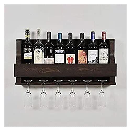 Indigo interiors Alvarado Wine Rack Gloss Holder, Wall Mounted Wine Racks, 8 Bottles, Hangers for 6 Wine Glasses (Walnut)
