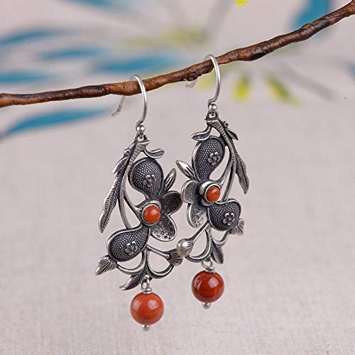 ESCYQ Women Earrings,925 Sterling Silver Matte Peony Flower South Red Agate Pendant Thai Silver Design for Women Earrings Jewelry Vintage Creative Ornament Dinner Friends Birthday Party Gift