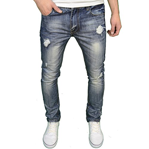 Soulstar Mens Designer Branded Slim Fit Ripped Distressed Fashion Jeans, Faded Stonewash, 34W x 30L