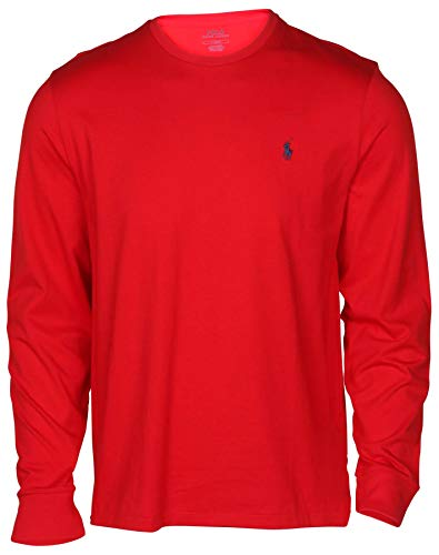 Polo Ralph Lauren Mens Long Sleeve Crew Neck T-Shirt (X-Large, Red)