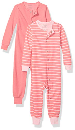 Hanes Ultimate Baby Flexy 2 Pack Sleep and Play Suits, Dark Pink Stripe, 12-18 Months