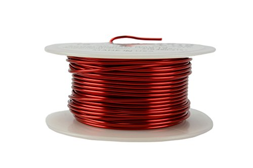 TEMCo 16 AWG Copper Magnet Wire - 8 oz 63 ft 155°C Magnetic Coil Red