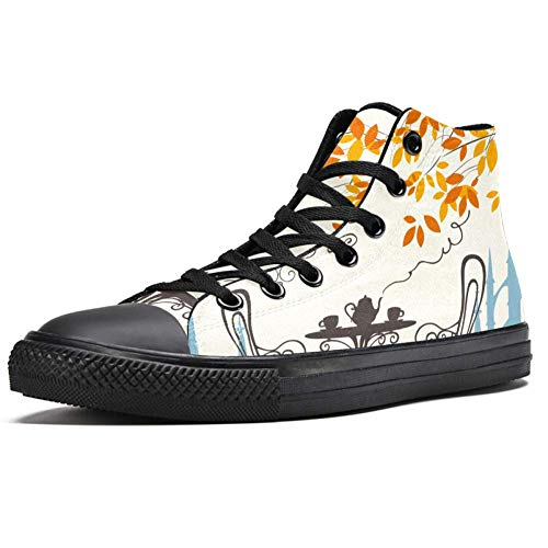 TIZORAX Couchtisch im Herbst, hohe Sneakers für Damen, Teenager, Gilrs, modische Schnürschuhe, Canvas-Schuhe, Mehrfarbig - mehrfarbig - Größe: 39.5 EU