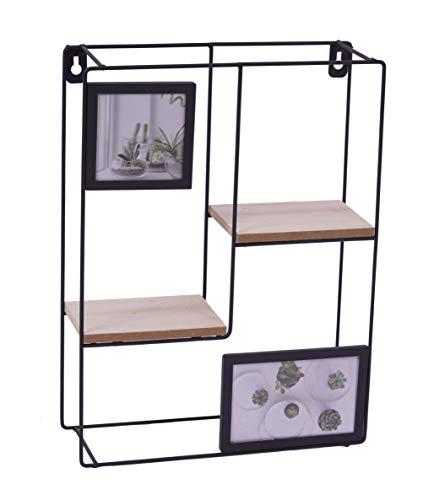 Spetebo Design Wandregal 40x33 cm - mit 2 Bilderrahmen und Holz Ablagen - Metall Hängeregal Setzkasten Regal