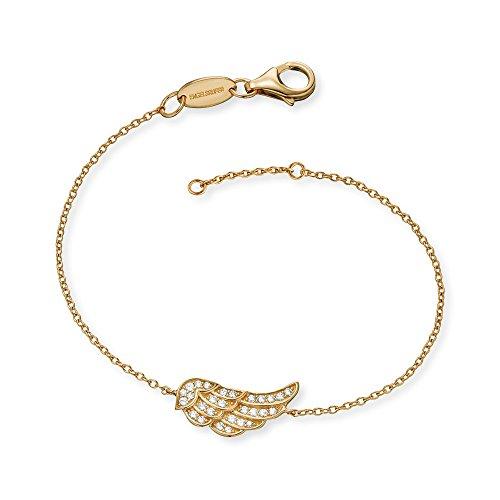 Engelsrufer Flügel Armband für Damen Gelbvergoldet 925er-Sterlingsilber Weiße Zirkonia Länge 16 cm + 2 cm