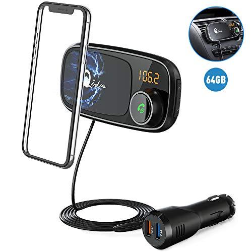Bluetooth FM Transmitter mit Auto Halterung, QC 3.0 Wireless FM Radio Adapter MP3 Musik Player Unterstützt 64GB TF Karte, Dual USB Bluetooth Zigarettenanzünder Kfz Ladegerät, 1M Kabel, Magnethalter