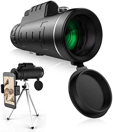 LUCKYY Telescopio Monocular Estelar, Monocular HD De Alta Potencia 40X60 con Soporte para Teléfono Inteligente Y Trípode Monocular Impermeable con Enfoque De Prisma FMC Duradero Y Claro