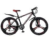 26' Montaña Bicicleta para Hombre Mujer, Alto Carbono Acero Bold Suspension Frame Bicicletas Engranajes, 21 Velocidades Frenos de Disco Tres Cuchillos