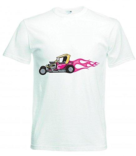 T-Shirt - Cooler Buggy Baggy Mit Pinken Flammen America Amy Usa Auto Car Luxus Breitbau V8 V12 Motor Felge Tuning Mustang Cobra - Tshirt für Herren - Damen und Kinder