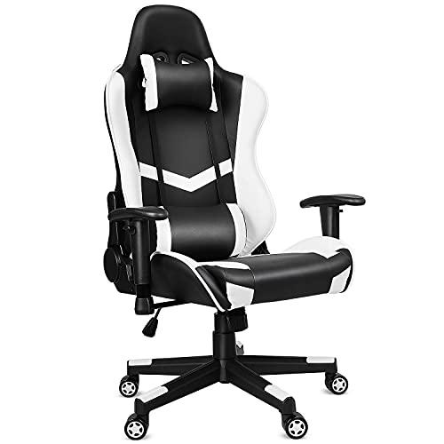 Gaming Stuhl Bürostuhl Gamer ergonomischer Schreibtischstuhl, Drehstuhl mit Kopfkissen und Lendenkissen, Chefsessel von einteiliger Stahlrahmen, 90°-160° Neigungswinkel, höhenverstellbar, bis 200kg