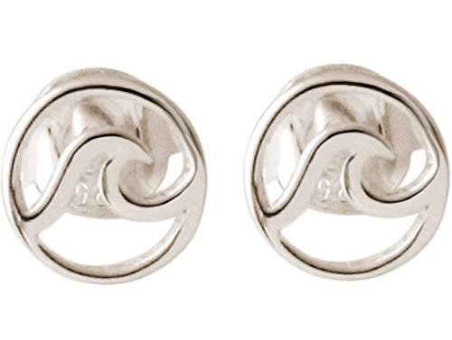 Gemshine Ohrringe Maritim Nautics Ohrstecker Surf Wellen Meer aus 925 Silber, hochwertig vergoldet oder rose im Navy Stil - Qualitätsvoller Schmuck Made in Spain, Metall Farbe:Silber