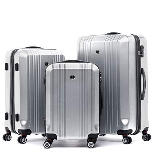 FERGÉ kofferset harde schaal 3-delig Cannes trolley-set - handbagage 55 cm L XL - 3-delige koffer rolkoffer 4 rollen 100% ABS & PC