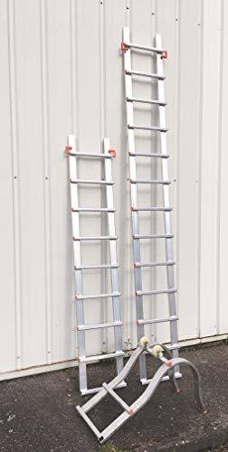 Echelle de toit en aluminium long 5.90 m composée d'une partie à crochet et de 2 rallonges
