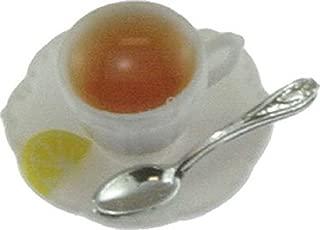 ドールハウスミニチュア1: 12スケールCup of hot tea with lemon on Saucer withスプーンcb171