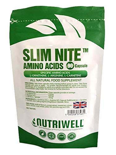 Slim Nite TM | 90 Capsules | 3 Amino Acids; L-Ornithine, L-Arginine and L-Carnitine | Made in Britain for NutriWell