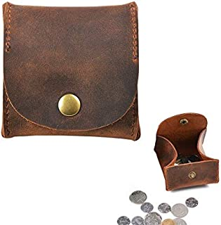 Jurxy Rustic Leather Moon Pocket Coin Case Genuine Leather Squeeze Coin Purse Pouch Change Holder Tray Purse Wallet for Men & Women - Brown