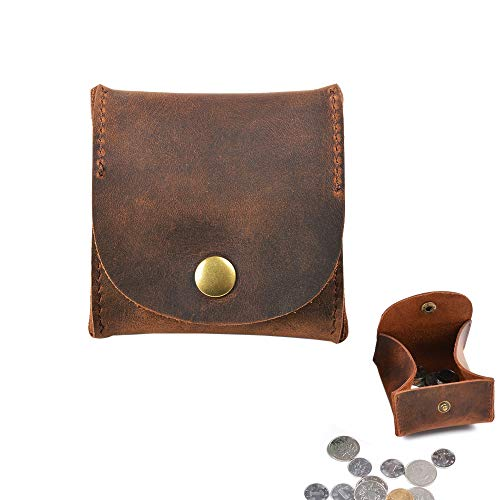 Jurxy Rustic Leather Moon Pocket Coin Case Genuine Leather Squeeze Coin Purse Pouch Change Holder...