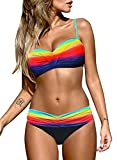 Astylish Womens Push Up Bikini Set Swimsuit Candy Patch Print Two Pieces Swimwear Multicolor Small 4 6