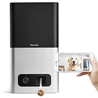 Petcube Bites Pet Camera with Treat Dispenser. Monitor Your Pet Remotely with HD 1080p Video, Two-Way Audio, Night Vision, Sound and Motion Alerts. for Dogs and Cats. Compatible with Alexa