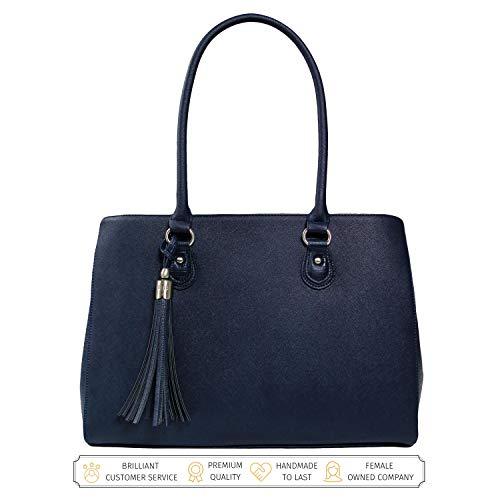 Laptop Tote Bag Luxury Designer - Handmade Vegan Leather Computer Shoulder Bag