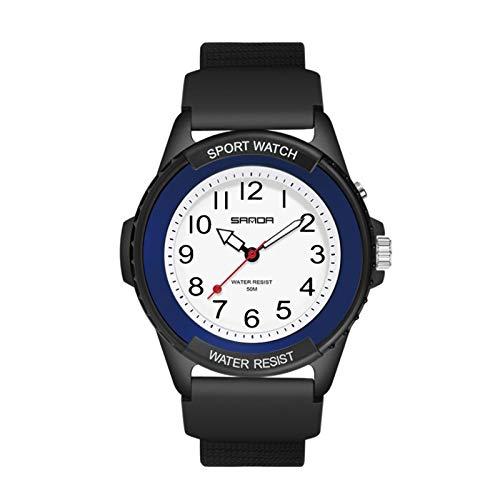 Reloj electrónico para niñas Adolescentes, Vestido de Moda para Mujer, Deportes al Aire Libre, Reloj eléctrico, Reloj de Pulsera de Cuarzo analógico Informal (Azul Negro)