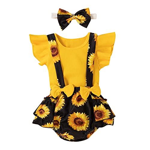 FYMNSI Conjunto de verano para bebé recién nacido, niña, manga corta, camiseta + tirantes de flores + cinta con lazo, 3 piezas, para 0 – 18 meses Girasol amarillo. 3-6 Meses