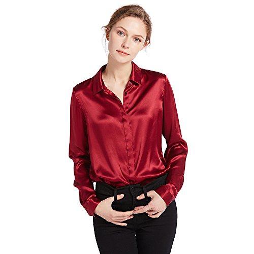 LilySilk Camisa Mujer de 100% Seda de 22Momme con Botones Estilo Clásico, Rojo Vino, Talla XXL