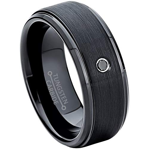 0.05ctw Black Diamond Tungsten Ring - 8mm Comfort FIt Black Tungsten Carbide Wedding Ring Mens Anniversary Band -#658s9.5