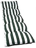 VIGIVISION Cojín para Tumbona. Colchón Tumbona Acolchada Medidas 180 x 50 x 5 cm (Rayas Verde)