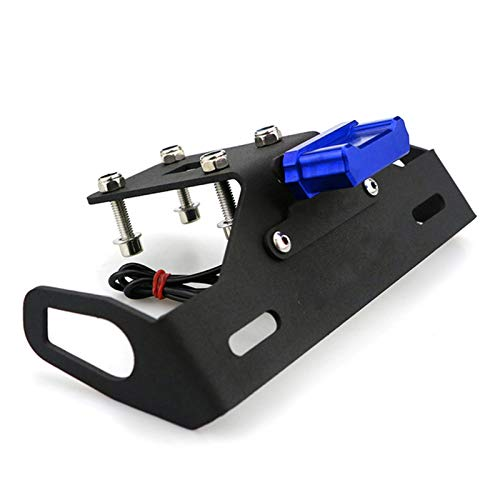 QMMB Motorcycle License Plate Holder, Motorcycle License Plate Stable Support with LED Lights, Easy To Install, Suitable for KAWASAKI Z1000 2013-2019,Blue