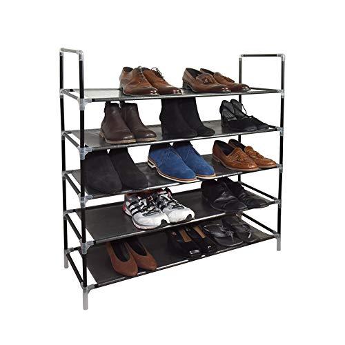 Vinsani - Estante de almacenamiento ajustable para 25 pares de zapatos, 88 x 91 x 28 cm 5 niveles negro