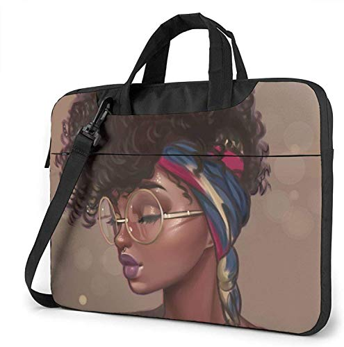 African American Girls Laptop Sleeve with/Strap Pocket, 13 Inch Multi-Functional Notebook Sleeve Carrying Case with Strap & Trolley Belt for Lenovo Acer Dell Lenovo Hp Samsung Ultrabook Chromebook