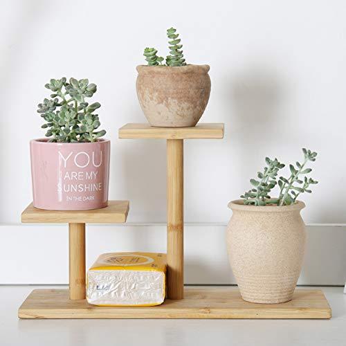 Wyi Soporte para plantas de bambú, 3 niveles, soporte para macetas, múltiples macetas para interiores y exteriores, estante para exhibición para balcón, patio, dormitorio, oficina (no incluye macetas)