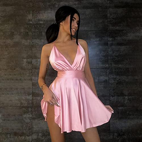 Astemdhj Damen Kleid Freizeit Rock Satin Sexy Backless Ärmellos Party Nachtclub Wickeln Minikleider Spaghetti-Trägern Elegantes Kleid Solid M Pink