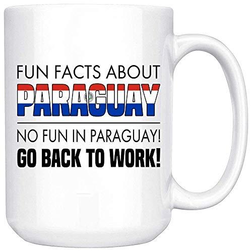 Taza de café blanca de dos tonos Datos divertidos sobre Paraguay No hay diversión en Paraguay Regrese al trabajo - Regalo para amigo Compañero de trabajo Oficial Taza de café blanca Taza de gran regal