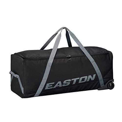 EASTON TEAM Bat and Equipment Bag Wheeled Bag Baseball Softball 2021 Black For Teams Coaches Versatile Large Team Bag with Inline Skate Wheels For Bats and Team Equipment, Catcher's