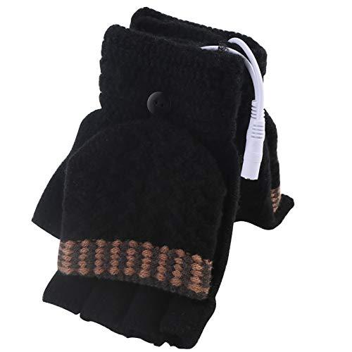 Guantes térmicos sin dedos de Yinuoday para hombres y mujeres, ideales para mantener tus manos calientes en el invierno, lavables, color Men Black, tamaño universal